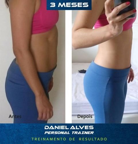 - 25% de gordura corporal para 20% e com aumento de 3kg de massa muscular.