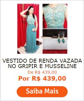 VESTIDO DE RENDA VAZADA NO GRIPIR E MUSSELINE