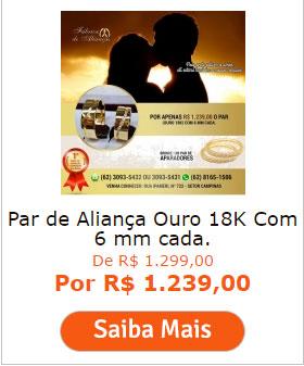 PAR DE ALIANÇA OURO 18K COM 6 MM CADA.
