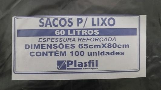 Saco  de lixo 60L Ref plasfil