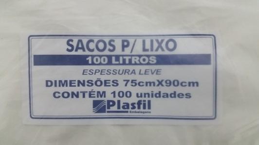 Saco de lixo 100L bco plasfil
