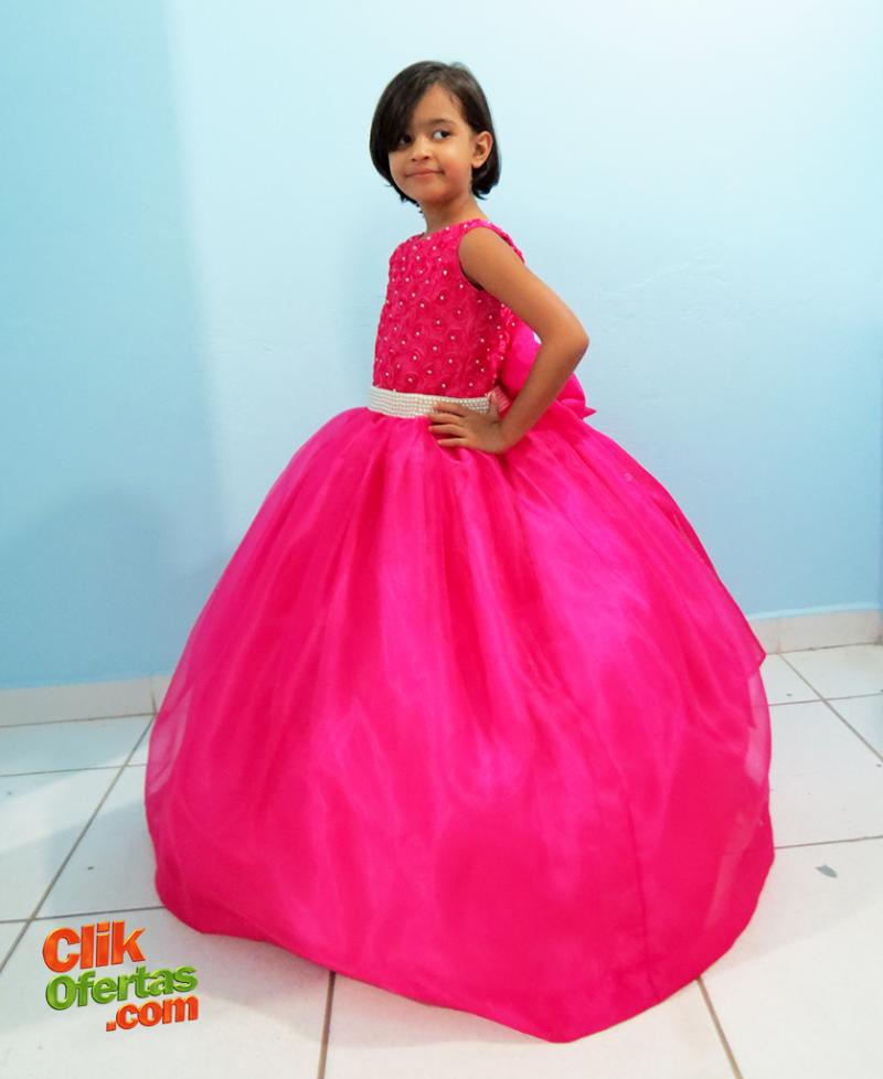 Vestido De Daminha de Honra - Rosa Pink