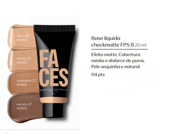 Base Liquida Cleck Matte - FPS 8, 20ml - Linha Faces