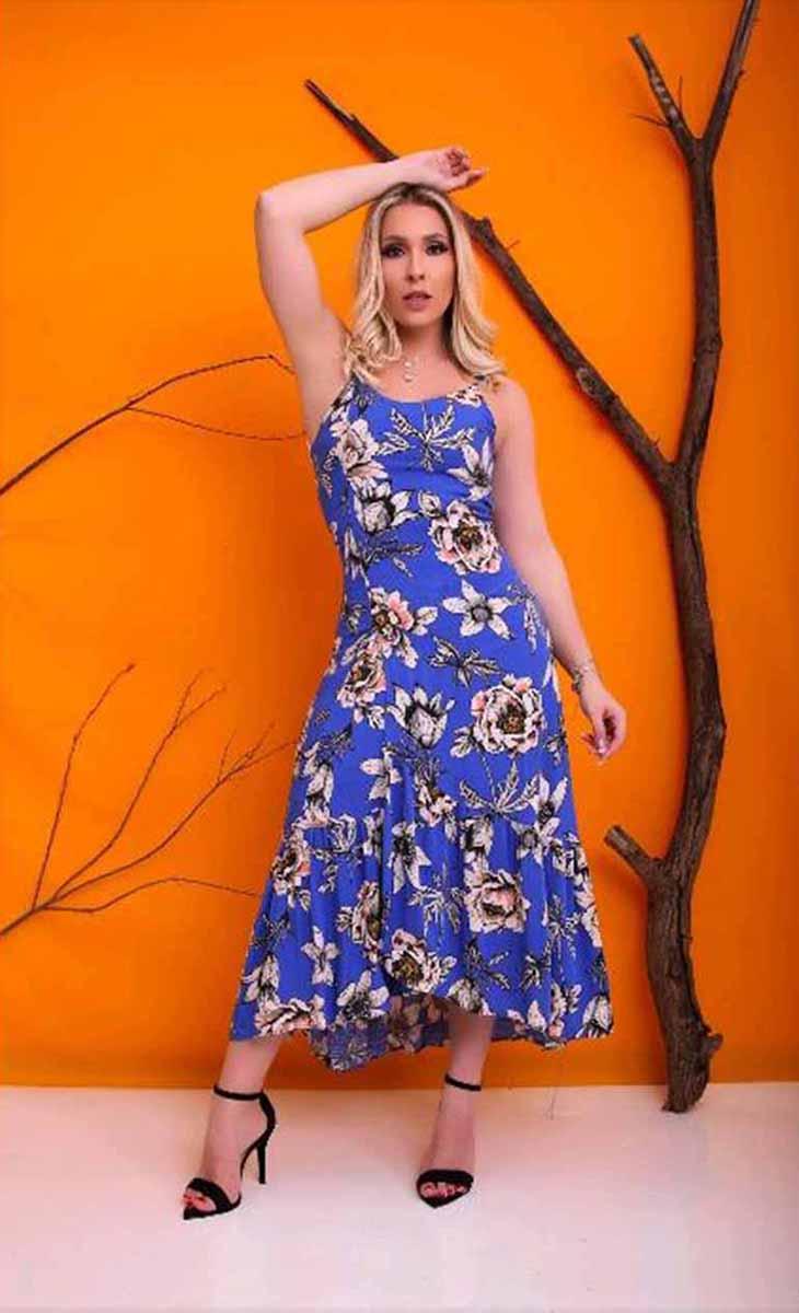 Vestido Mid Floral Fundo Azul