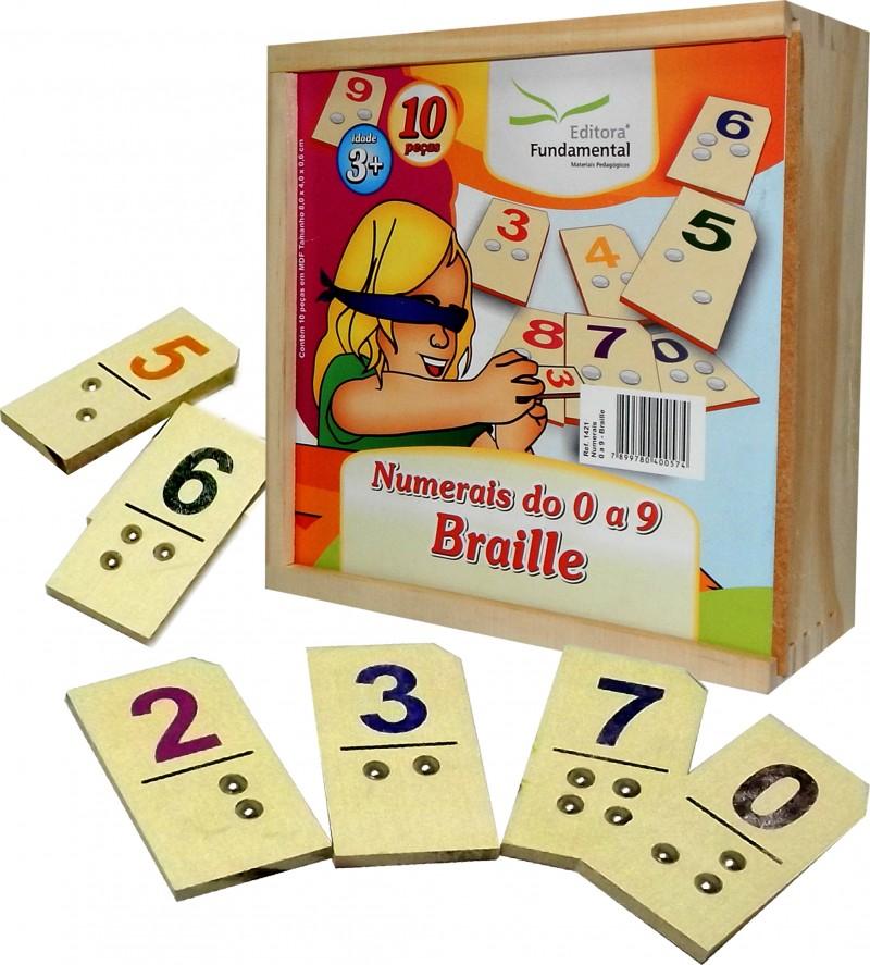 Numerais de 0 á 9 em Braille