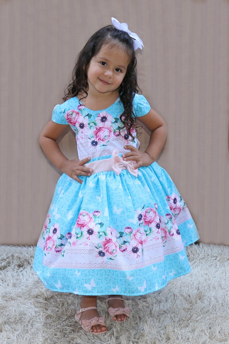 Vestido Infantil com Barrado 1