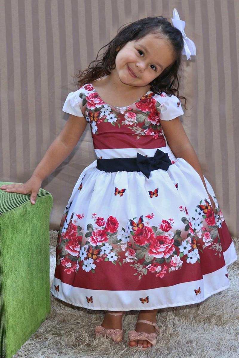 Vestido Infantil  com Barrado de 0 á 10 anos