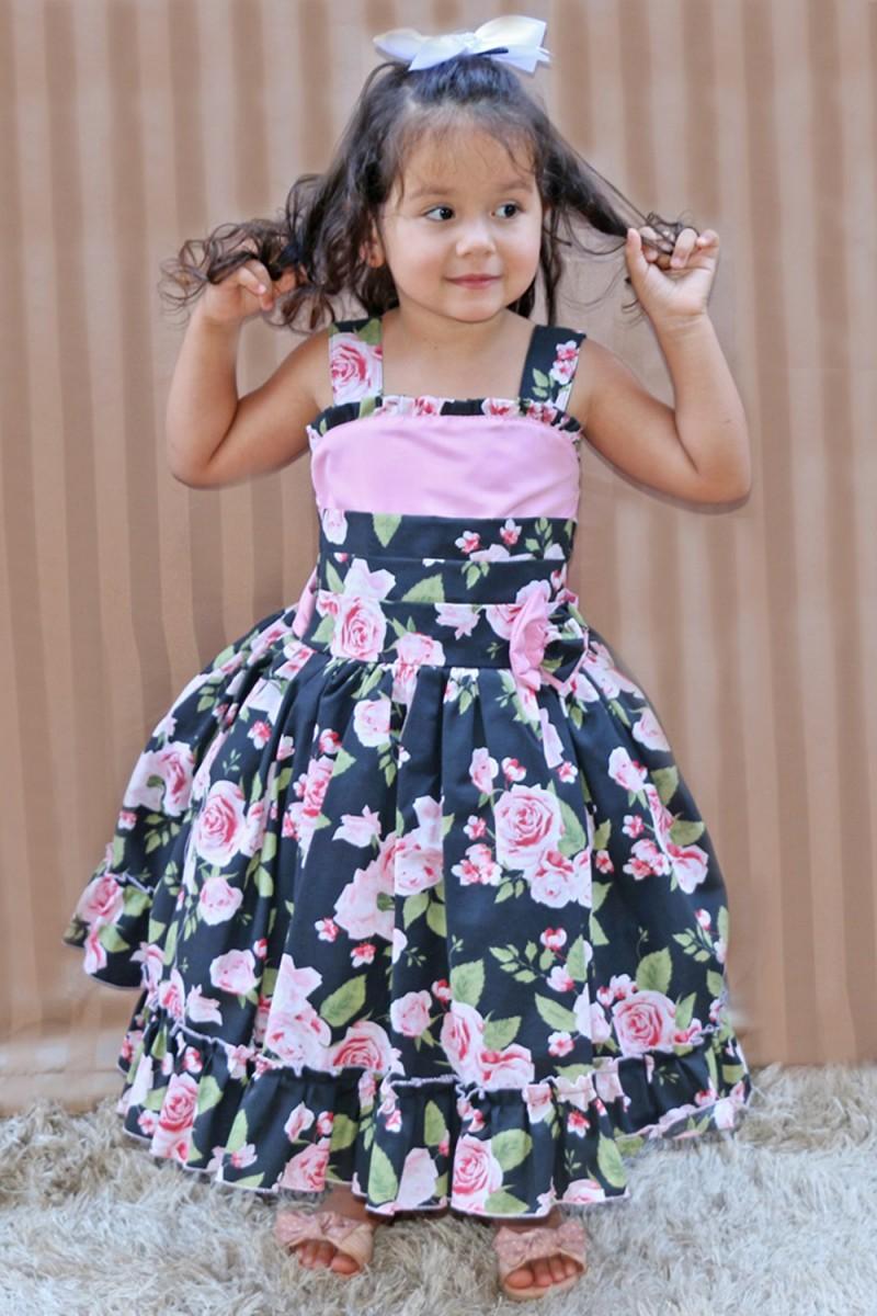 Vestido Infantil Floral - De 0 á 10 anos