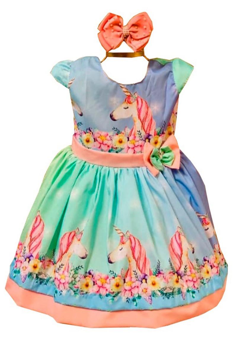 Vestido Temático de Unicórnio - De 0 á 10 Anos