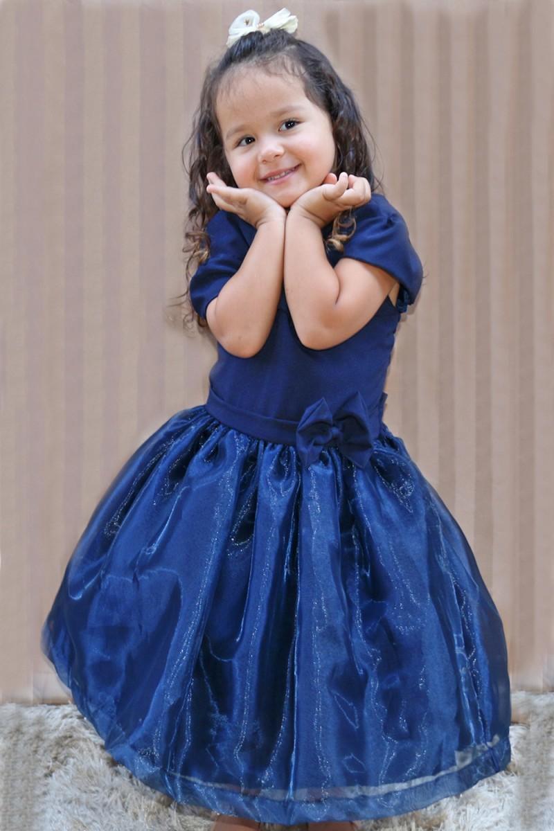 Vestido Infantil Renata Cor Azul - De 0 á 10 Anos